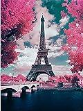 YEESAM ART Neuheiten Malen nach Zahlen Erwachsene Kinder, Frankreich Paris Eiffelturm, Romantische Kirschblüte, Rosa Blüten 40x50 cm Leinen Segeltuch, DIY ölgemälde Weihnachten