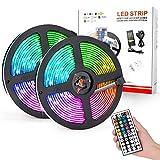 eecoo Striscia LED RGB 10M, Strisce LED Impermeabile IP65 300 LEDs, Nastri LED, Strip LED Includere Telecomando a 44 Tasti, Adattatore, Connettore, 2 Rotoli da 5 Metri Ciascuno