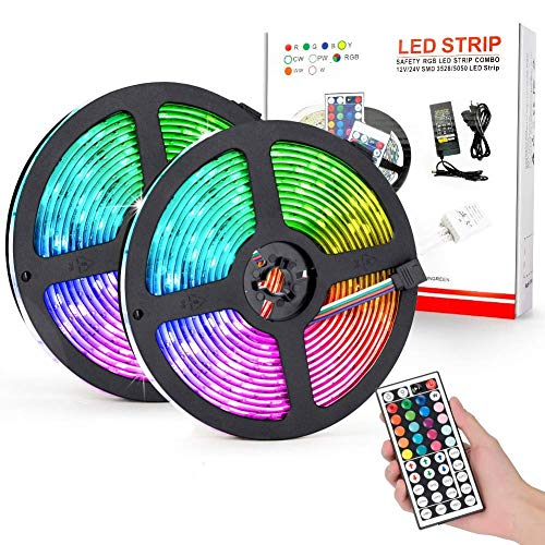 Striscia LED RGB 10M, Strisce LED Impermeabile IP65 300 LEDs, Nastri LED, Strip led Includere Telecomando a 44 Tasti, Adattatore, Connettore, 2 Rotoli da 5 Metri Ciascuno