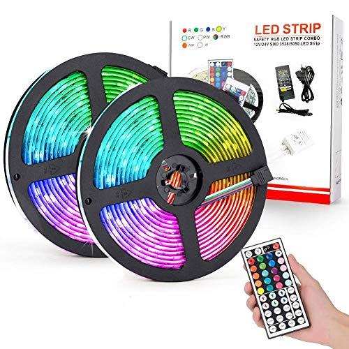 10M Tiras de led RGB 5050, Flexible Multicolor 300 LEDs Impermeable IP65...