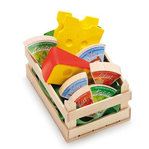 Erzi 28236 Sortiment Käse, klein aus Holz, Kaufladenartikel für Kinder, Rollenspiele