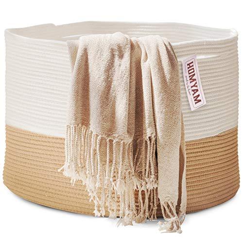 "Extra Large Storage Basket – 22"" X 14"" XXXL Toy Basket – Decorative Large Blanket Basket Living Room, Woven Laundry Rope Baskets with Handles,Blankets Holder,Kid's Toys Storage Bin,Round – Beige/White"