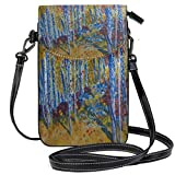 XCNGG Borsa piccola per cellulare Painting Aspens Rocky Mountains Cell Phone Purse Wallet for Women Girl Small Crossbody Purse Bags