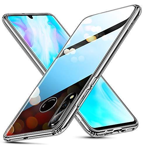 Glashülle kompatibel mit Huawei P30 Lite - 9H Hartglas Handyhülle mit dualer Rückseite - Kratzfeste Schutzhülle mit weichem TPU Bumper für Huawei P30 Lite - Klar