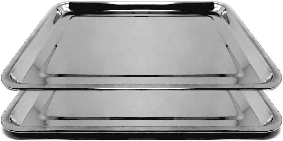Space Home - Juego de 2 Bandejas para Servir - Fuente Llana Rectangular - Acero Inoxidable - 40 x 30 cm