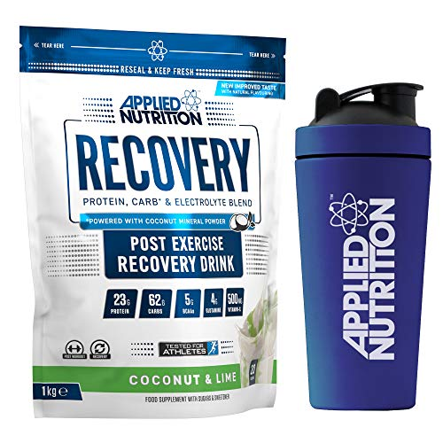 Applied Nutrition Bundle Recovery 1kg + 750ml Steel Protein Shaker   Post Workout Muscle Recovery Drink, Protein Powder, Carb & Electrolyte Blend with BCAA's (Coconut & Lime)