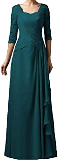 LeoGirl Women's 3/4 Sleeves Lace Appliques Mother of The Bride Dress Long Evening Dress