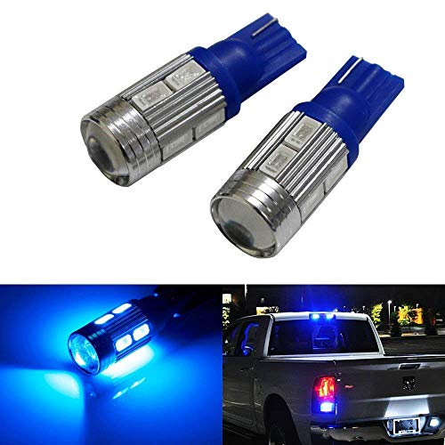 iJDMTOY (2) Sparking Blue 10-SMD 921 912 920 168 T10 LED Replacement Bulbs Compatible With Chevrolet Ford GMC Honda Toyota Truck 3rd Brake Lamp Cargo Lights