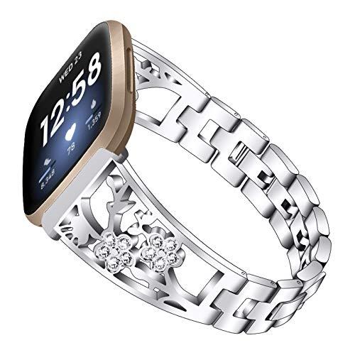 XIALEY Correa De Metal Compatible con Fitbit Versa 3 / Sense, Pulseras De Repuesto De Acero Inoxidable para Mujer, Accesorio De Bandas De Diamantes De Imitación con Purpurina,Plata