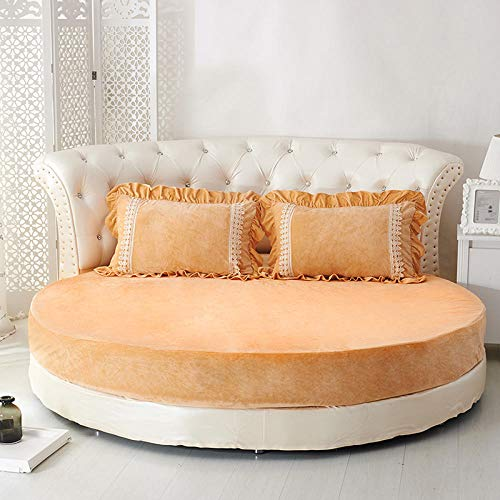 HPPSLT Easy Care Soft Brushed Microfiber Fabric -Shrinkage and Fade Resistant Round bed sheet thickened quilted-camel-single layer_2m