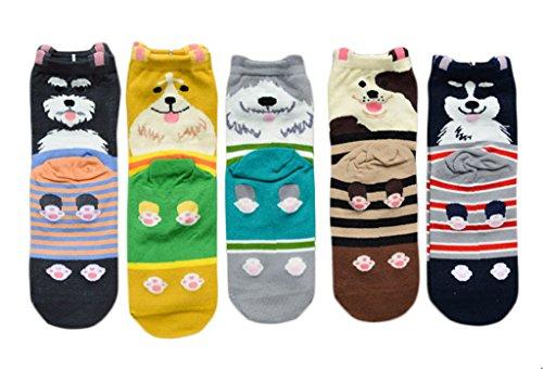 Bigood 5 Paar Farbe Zufällig Damen Mädchen Winter Herbst Gestrickt Socken Damensocken Erstlingssöckchen Einheitgröße