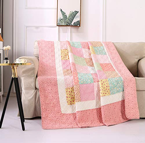 VIVILINEN Quilted Throw Blanket 100% Cotton Patchwork Bedspread Soft Lightweight Quilt for Couch Sofa Bed Throw Single (Pink, 150x200cm)