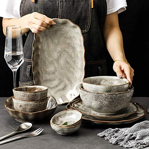 ZJZ Juegos de vajilla de cerámica, 38 Piezas de vajilla con diseño de Piedra de Estilo japonés, Cuenco de Cereal de Porcelana Retro y Juego de Plato de Carne para reuniones Familiares