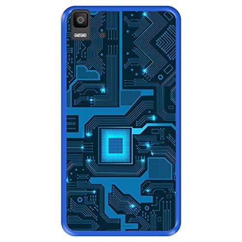 Hapdey Funda Azul para [ Bq Aquaris E5s - E5 4G ] diseño [ Placa de Circuito eléctrico ] Carcasa Silicona Flexible TPU