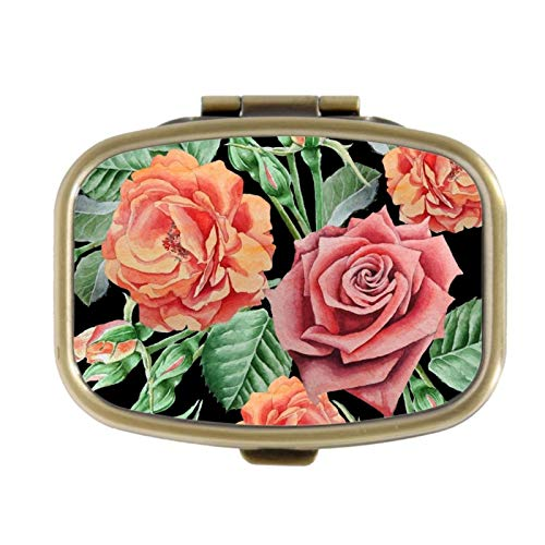 Pill Box - Rozen - Decoratieve Pill Case met Gift Box - Pocket Rechthoekig Brons RVS Medicine Tablet Houder Organizer Pill Case voor portemonnee