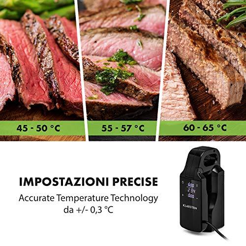 Klarstein Quickstick Free Sous Vide Stick - Roner, Temperatura 0-95 ° C, Display Touch LCD, Timer 60 Minuti, Per Pentole Fino a 10 L, Impermeabile IPX7, Nero