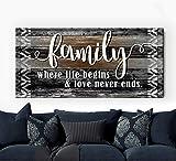 Sense Of Art | Family Where Life Begins | Family Sign | Farmhouse Decor | Hanging Decor |Family Wall Decor|Rustic Home Decor Farmhouse|Wall Frames for Living Room (Brown, 42x19)