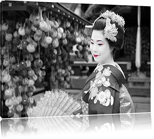 schöne Geisha mit Fächer schwarz/weiß Format: 120x80 auf Leinwand, XXL riesige Bilder fertig gerahmt mit Keilrahmen, Kunstdruck auf Wandbild mit Rahmen, günstiger als Gemälde oder Ölbild, kein Poster oder Plakat