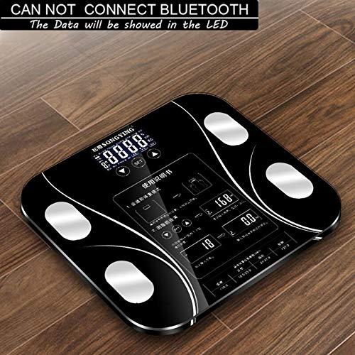CHENTAOCS Digital Wireless Phone Ontvang Smart Lichaamsvet Schaal van de Vloer BMI Gewicht Monitor Health Analyzer Fitness Afvallen Gereedschap (Color : Black)