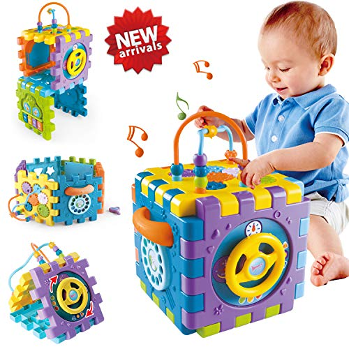 ACTRINIC Baby Toys 18+ month Baby Activity Cube Toy,6 in 1 Multipurpose Play Center with Music.Shape Color Sorter Beads Maze Toy.Best Gift Toys for Boys and Girls Toddlers Kids