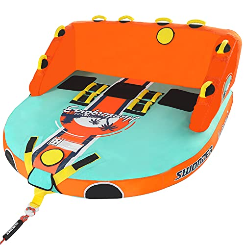 Swonder Huntington3 Towable Tube for Boating, 1-3 Rider Water Sports Tubes for Boats to Pull, Front & Back Tow Points Inflatable Boat Tube
