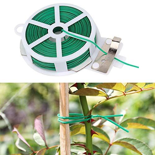 Gwxevce 50m Cravatta a Spirale per Piante con Cutter Robusto Filo Rivestito Verde Cavo Domestico per Giardinaggio Verde