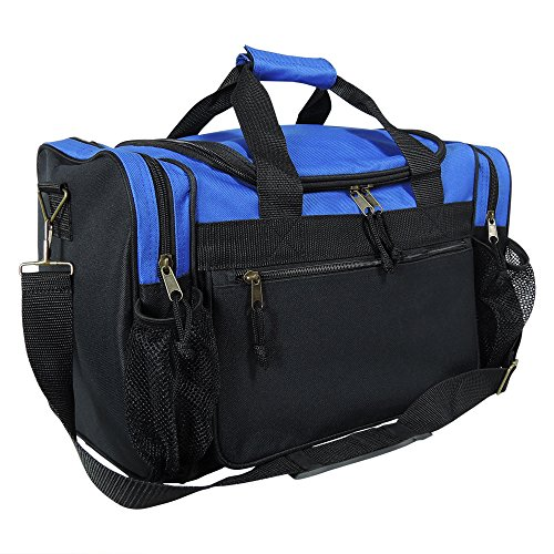 DALIX 17  Duffle Travel Bag with Dual Front Mesh Pockets in Royal Blue