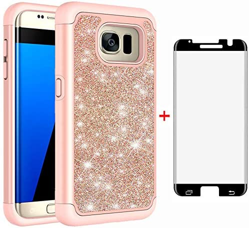 Phone Case for Samsung Galaxy S7 Edge with Tempered Glass Screen Protector Cover and Bling Glitter product image