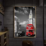 pktmbttoveuhgf London Tower Bridge Big Ben Paisaje Urbano Lienzo Cuadros para Sala de Estar Paisaje Pared Cartel impresión Arte Moderno decoración del hogar