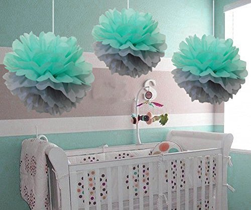 HEARTFEEL 8pcs Mint Mixed Grey Tissue Paper Pom Poms Flower Ball Hanging Pom Wedding Party Outdoor Decoration Wedding Nursery Decorations Bridal Shower Party Room Decor