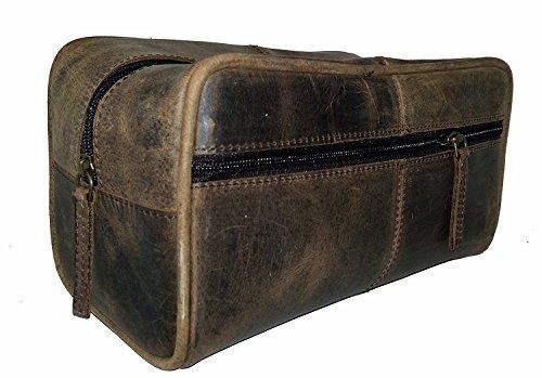 Tom&Clovers Bags Trousse de toilette unisexe en cuir de buffle véritable