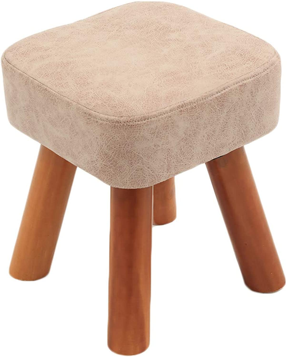 CAIJUN Footstool Comfortable Multifunction Thick Sponge Solid Wood Frame Portable Indoor Gift, 4 colors, 2 Size (color   Beige, Size   28x28x25cm)