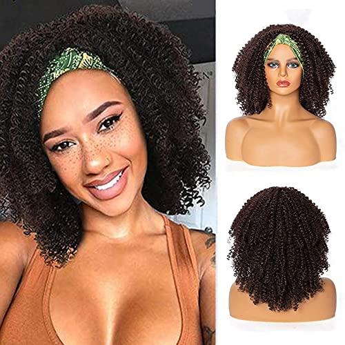 Pelucas para peinar el pelo, peluca trenzada para mujeres negras, peluca afro rizada, peluca marrón con flequillo 2 en 1 turbante cordón sintético Puff peluca para cosplay fiesta uso diario