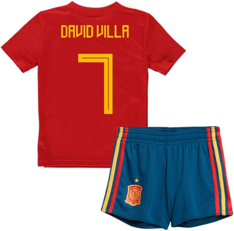 UKSoccershop 2018-19 Spain Home Mini Kit (David Villa 7)