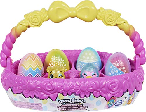 HATCHIMALS 6060902 CollEGGtibles, Spring Basket with 5 3 Pets, Easter Gift for Kids 5 and up