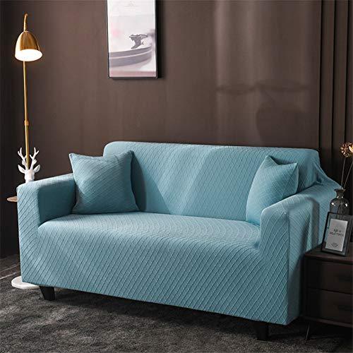 wjwzl Chaiselongue-Sofabezug, elastisch, rutschfest, für Wohnzimmer, Schlafzimmer, Sofa, 1 W, blaues Gitter, (2 Sitze)+(3 Sitze)