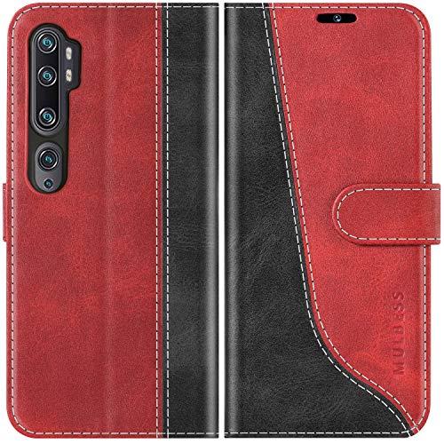 Mulbess Handyhülle für Xiaomi Mi Note 10 Hülle Leder, Xiaomi Mi Note 10 Handy Hüllen, Modisch Flip Handytasche Schutzhülle für Xiaomi Mi Note 10 / Note 10 Pro, Wine Rot