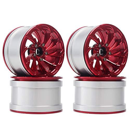 INJORA RC Felge 4pcs 2,2 Beadlock Felgen Metall Räder Set für 1:10 RC Crawler Axial SCX10 RR10 90053 90048 Wraith 90045 90018 (Rot)