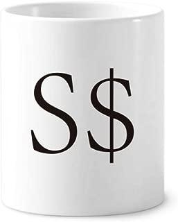 Currency Symbol Singapore Dollar Toothbrush Pen Holder Mug White Ceramic Cup 12oz
