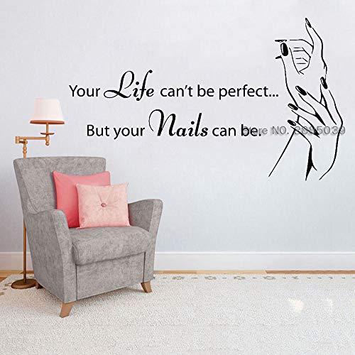 jiushivr Nagelstudio-Zitat-Wand-Fenster-Abziehbild-Aufkleber-Nagellack-Maniküre-Schönheits-Salon-Wand-Aufkleber für Schlafzimmer-Inneneinrichtung LC 71x42cm
