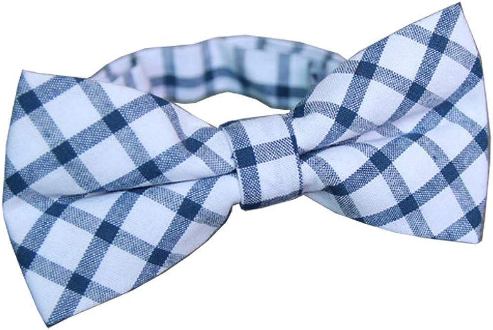 D&L Menswear Men's Pre-Tied Blue White Checkered Bow Tie Adjustable Neck Bowtie