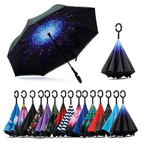 Sumeber Double Layer Reverse Regenschirm mit C Griff Schützen vor Sturm Wind Regen und UV-Strahlung Innovativer Regenschirm (Sternenklarer Himmel) …