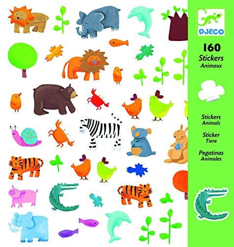 Djeco Aufkleber mit Tiermotiven, Mehrfarbig