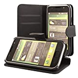 ECENCE Samsung Galaxy S GT-i9000 S Plus i9001 Coque de protection Housse Pochette wallet Case noir + protection d'écran 13010202