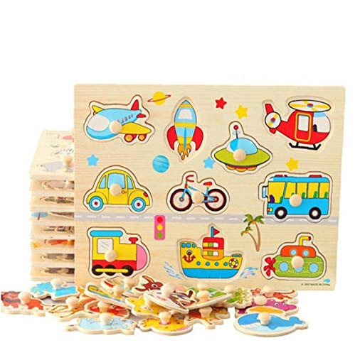 LAVALINK Giochi di Puzzle in Legno, Set Mano Afferrare Bordo- Educativi Giocattoli in Legno Cartoon Car Marine Animale Puzzle di Giocattoli in Legno per Bambini, Ragazze, Bambini