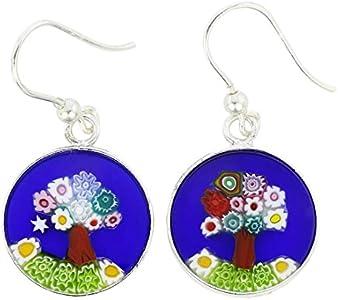 GlassOfVenice Pendientes redondos de cristal de Murano, diseño de árbol de la vida, color plateado