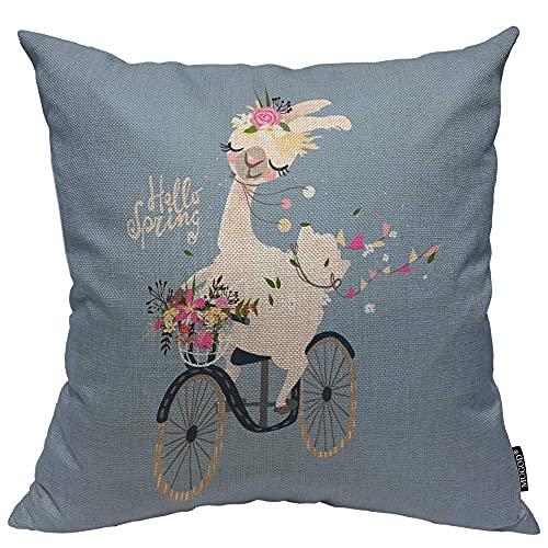 Almohada de Estampado, Almohada Pattern, Funda de cojín Throw Pillow para Cama sofá Sala de Estar Dormitorio,Llama Decorativo Hola Primavera Letras Guirnalda Alpaca Bicicleta Cesta Flores