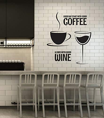 Calcomanía de vinilo para pared, café, vino, cita de restaurante, cocina, comedor, ig6089