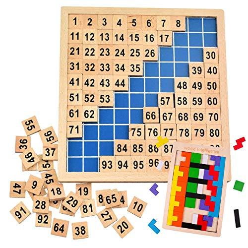 Mengger montessori juguetes madera Tableros números matematicas educativos 1 a 100 números consecutivos contador Juguete aprender a contar Números con puzzle