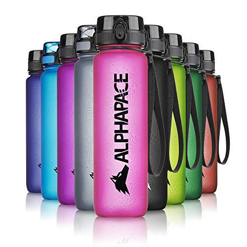 ALPHAPACE Trinkflasche, auslaufsichere 650 ml Wasserflasche, BPA-freie Flasche für Sport, Fahrrad & Outdooraktivitäten, Sportflasche mit Fruchteinsatz, in Pink
